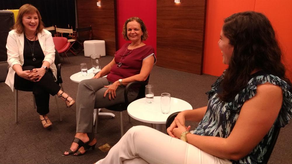 Virgínia Sgotti, Carol Salgado e Laís Xavier conversaram sobre as barreiras para mulheres no mercado de TI